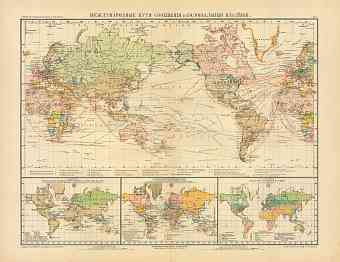 World Map of the International Transport and Colonial Possessions (in Russian), 1910