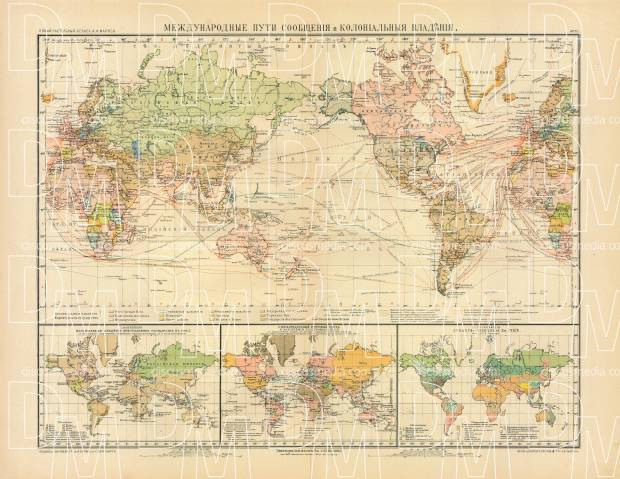 World Map of the International Transport and Colonial Possessions (in Russian), 1910. Use the zooming tool to explore in higher level of detail. Obtain as a quality print or high resolution image