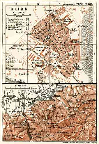 Blida (البليدة), city map. Environs of Blida map, 1909