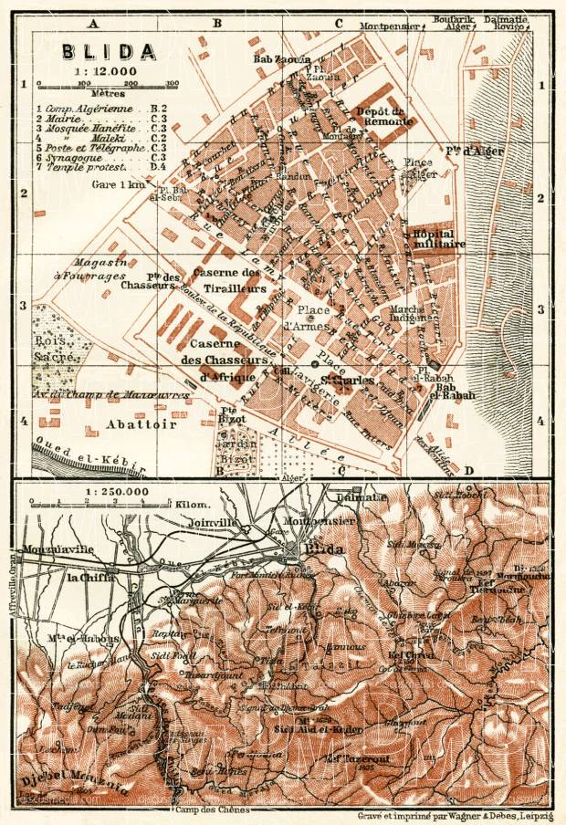 Blida (البليدة), city map. Environs of Blida map, 1909. Use the zooming tool to explore in higher level of detail. Obtain as a quality print or high resolution image