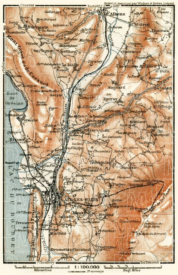 Aix-les-Bains environs map, 1913. Use the zooming tool to explore in higher level of detail. Obtain as a quality print or high resolution image