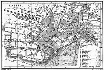 Historical Map Prints Of Cassel Kassel In Germany For Sale And - Germany map kassel