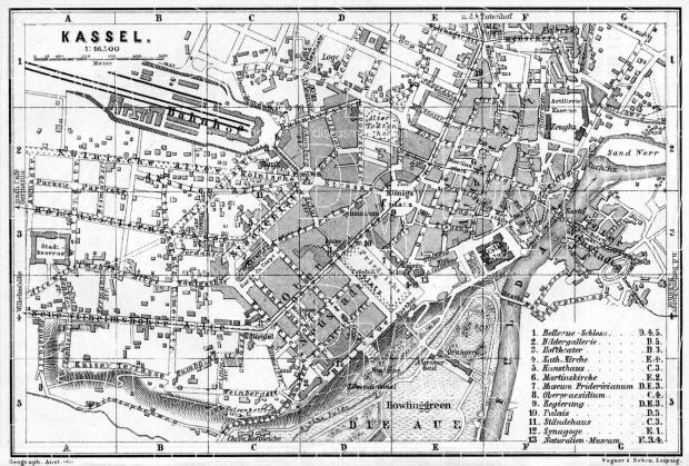 Kassel (Cassel) city map, 1887. Use the zooming tool to explore in higher level of detail. Obtain as a quality print or high resolution image