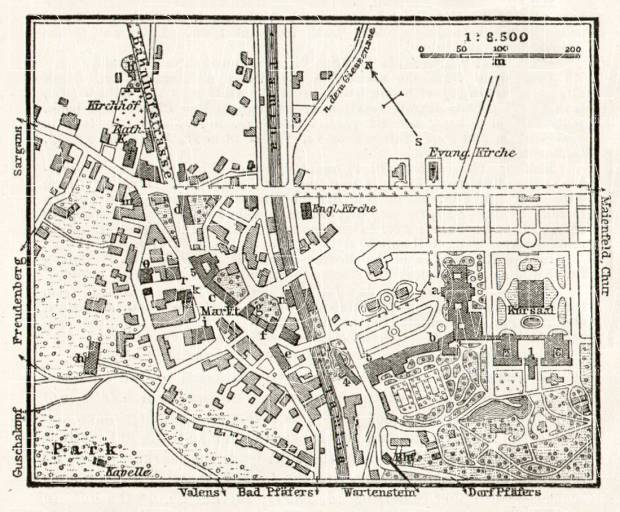 Bad Ragaz (Ragatz) town plan, 1909. Use the zooming tool to explore in higher level of detail. Obtain as a quality print or high resolution image