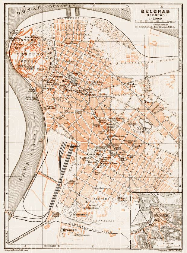 Belgrade (Београд, Beograd) city map, 1914. Use the zooming tool to explore in higher level of detail. Obtain as a quality print or high resolution image