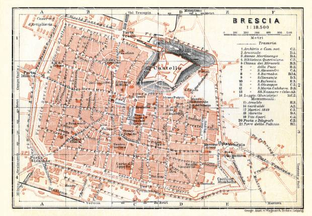 Brescia city map, 1908. Use the zooming tool to explore in higher level of detail. Obtain as a quality print or high resolution image