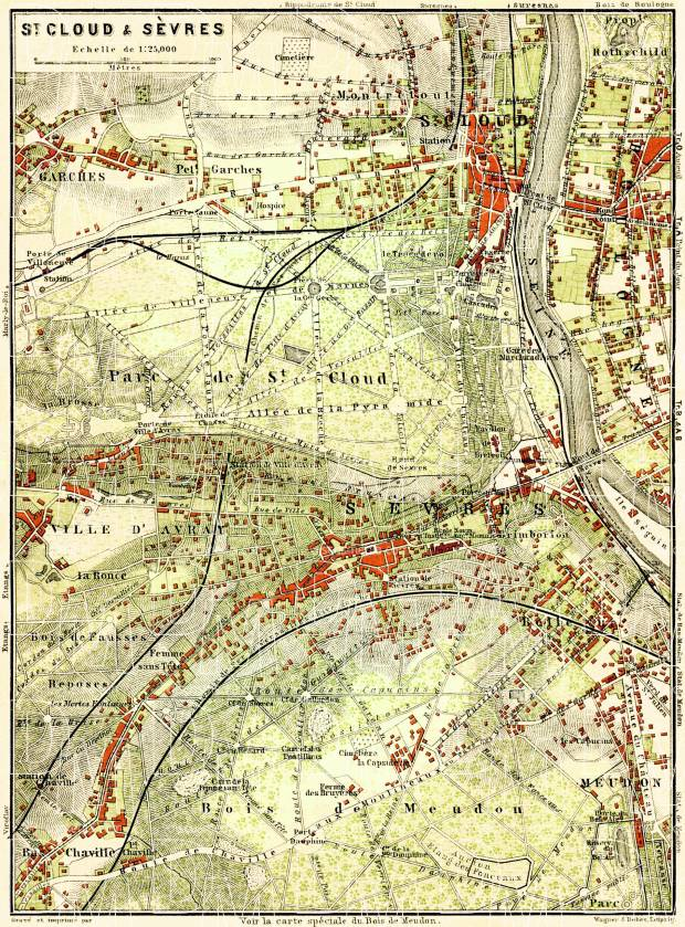 Saint Cloud and Sévres map, 1903. Use the zooming tool to explore in higher level of detail. Obtain as a quality print or high resolution image