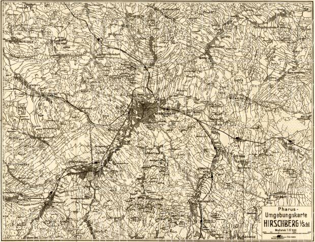 Hirschberg im Schlesien (Jelenia Góra) environs map, 1912. Use the zooming tool to explore in higher level of detail. Obtain as a quality print or high resolution image