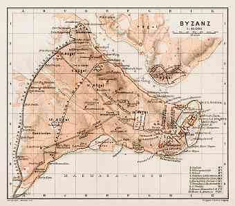 Byzantium (Byzanz, Constantinople) ancient site map, 1914