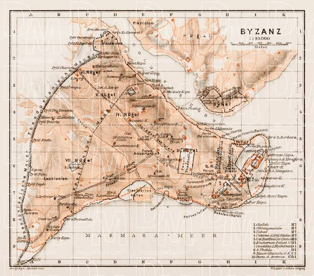 Byzantium (Byzanz, Constantinople) ancient site map, 1914. Use the zooming tool to explore in higher level of detail. Obtain as a quality print or high resolution image