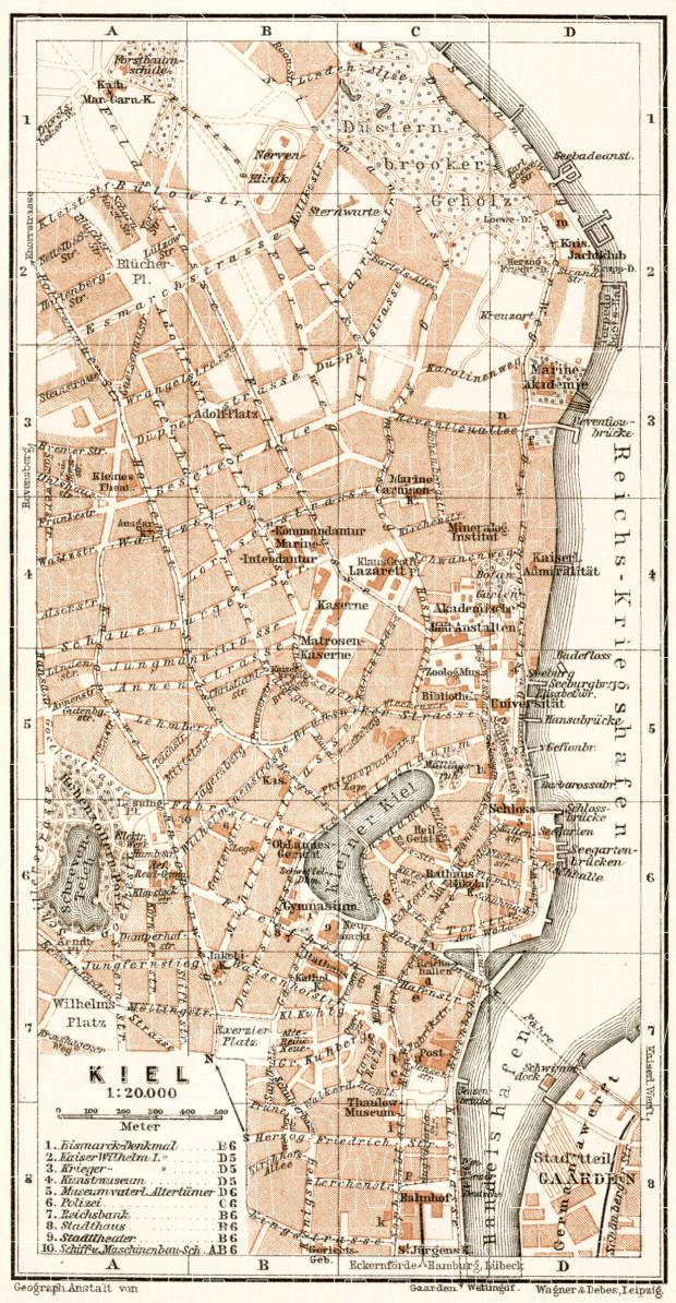 Kiel city map, 1911. Use the zooming tool to explore in higher level of detail. Obtain as a quality print or high resolution image