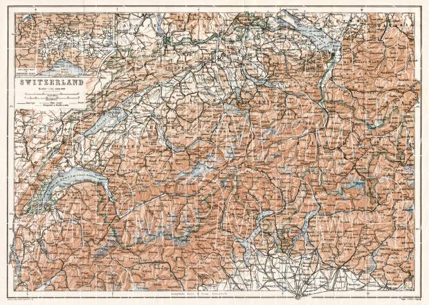 Switzerland, general map, 1909. Use the zooming tool to explore in higher level of detail. Obtain as a quality print or high resolution image