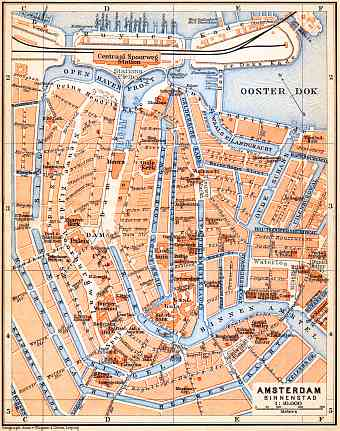 Amsterdam, central part map, 1904