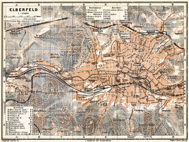 Elberfeld city map, 1905. Use the zooming tool to explore in higher level of detail. Obtain as a quality print or high resolution image