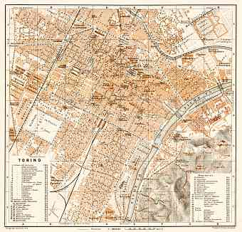 Turin (Torino) city map, 1913