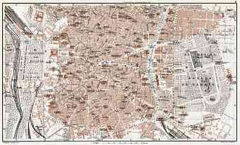 Madrid, central part map, 1913