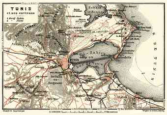 Map of the environs of Tunis, 1909