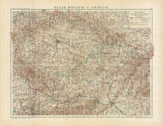 Bohemia, Moravia and Silesia Map (in Russian), 1910. Use the zooming tool to explore in higher level of detail. Obtain as a quality print or high resolution image