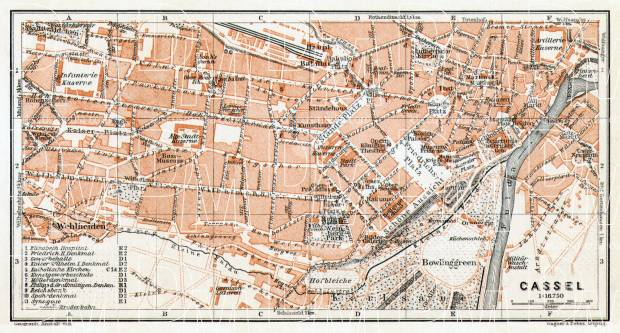 Kassel (Cassel) city map, 1906. Use the zooming tool to explore in higher level of detail. Obtain as a quality print or high resolution image