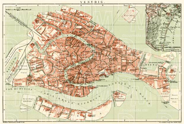 Venice city map, 1908. Use the zooming tool to explore in higher level of detail. Obtain as a quality print or high resolution image