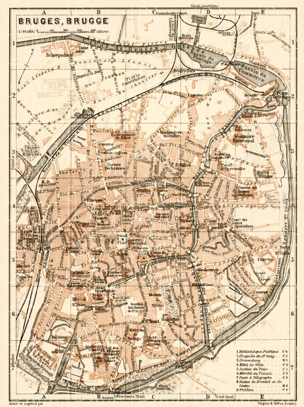 Brügge (Bruges) city map, 1909. Use the zooming tool to explore in higher level of detail. Obtain as a quality print or high resolution image