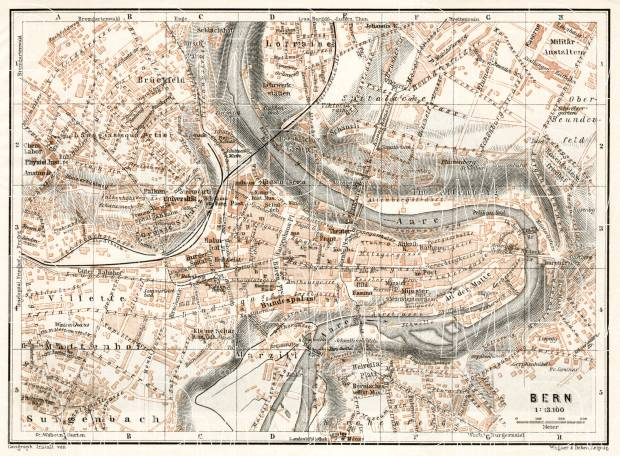 Old map of Bern (Berne) in 1909. Buy vintage map replica poster ...