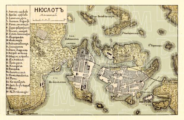 Nyslot (Savonlinna) city map (in Russian), 1913. Use the zooming tool to explore in higher level of detail. Obtain as a quality print or high resolution image