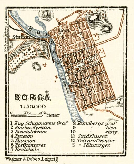 Borgå (Porvoo) town plan, 1914. Use the zooming tool to explore in higher level of detail. Obtain as a quality print or high resolution image
