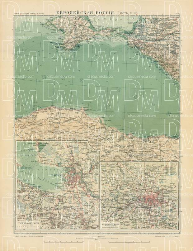 European Russia Map, Plate 14: Black Sea. 1910. Use the zooming tool to explore in higher level of detail. Obtain as a quality print or high resolution image