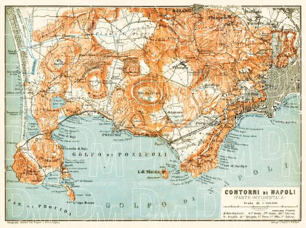Naples (Napoli) western environs map, 1912. Use the zooming tool to explore in higher level of detail. Obtain as a quality print or high resolution image