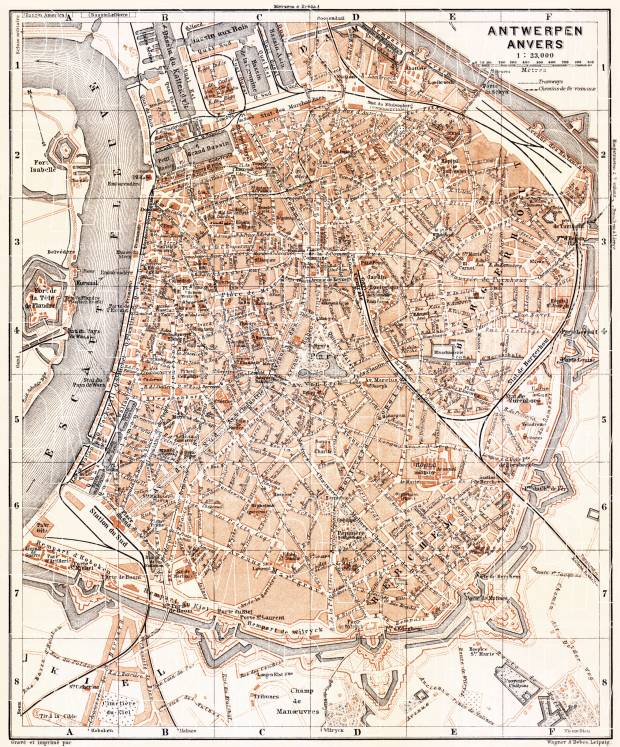 Antwerp (Antwerpen, Anvers) city map, 1904. Use the zooming tool to explore in higher level of detail. Obtain as a quality print or high resolution image