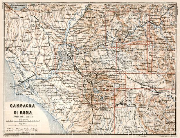 Rome (Roma) and Campagna di Roma map, 1912. Use the zooming tool to explore in higher level of detail. Obtain as a quality print or high resolution image