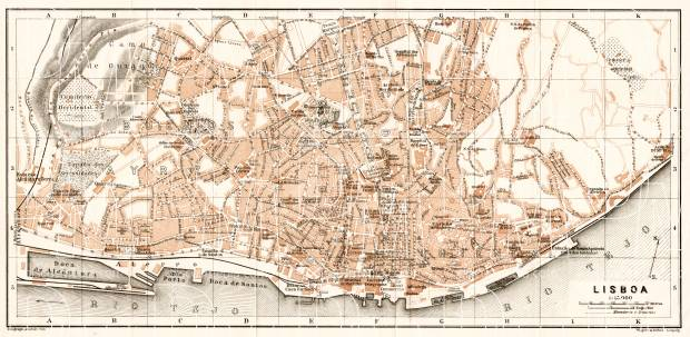 Lisbon (Lisboa) city map, 1911. Use the zooming tool to explore in higher level of detail. Obtain as a quality print or high resolution image