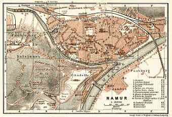Namur city map, 1909