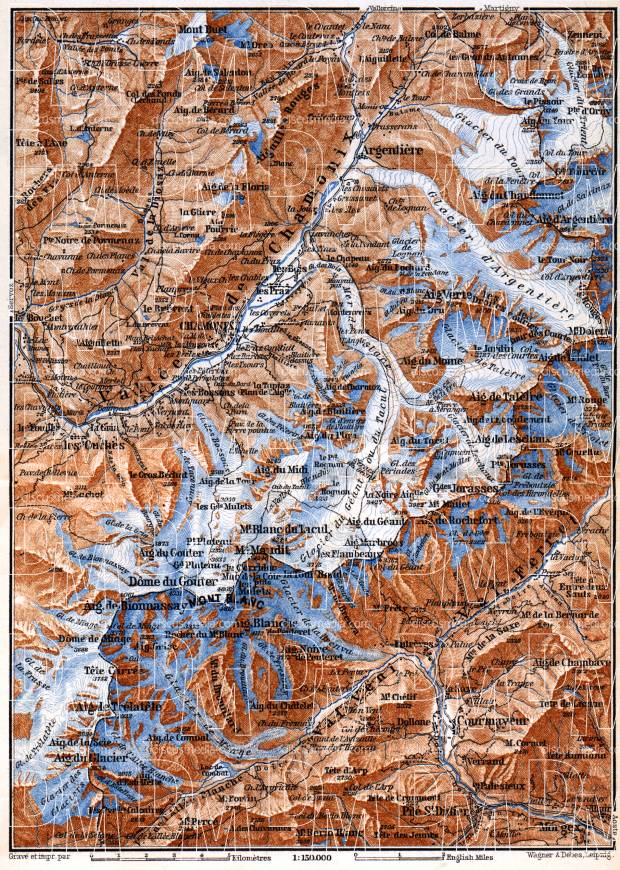 Chamonix and Sixt Valleys map, 1885. Use the zooming tool to explore in higher level of detail. Obtain as a quality print or high resolution image