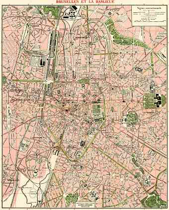 Brussels (Brussel, Bruxelles) city map, 1920