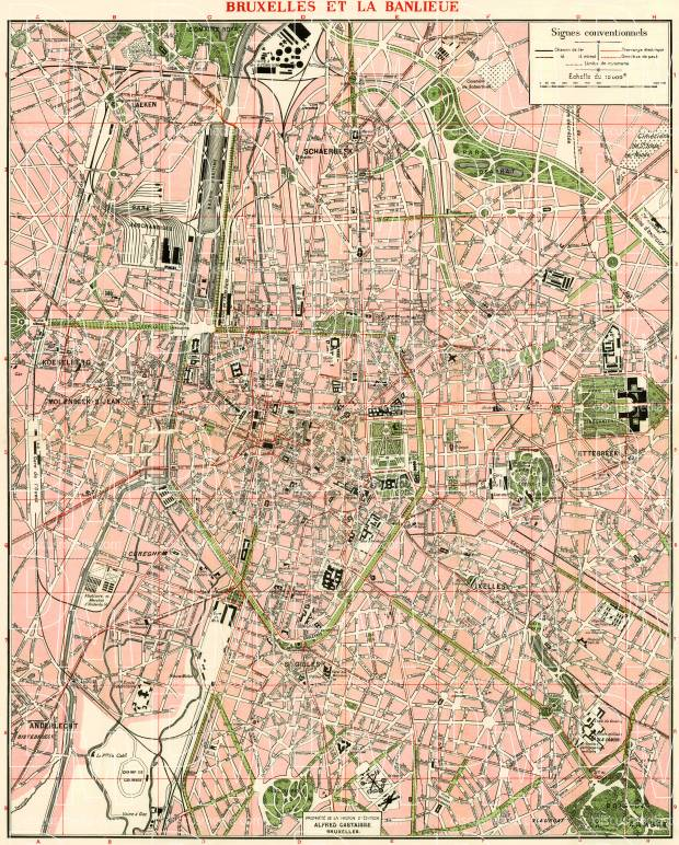 Old map of Brussels Bruxelles in 1920 Buy vintage map replica
