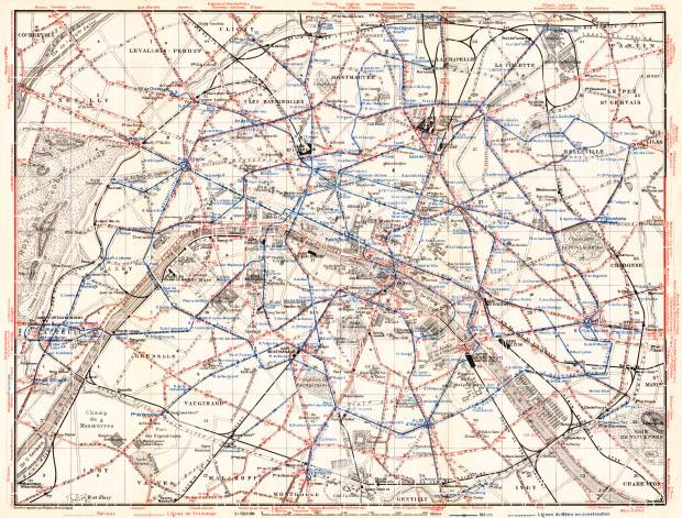Paris Tramway and Metro Network map, 1931. Use the zooming tool to explore in higher level of detail. Obtain as a quality print or high resolution image