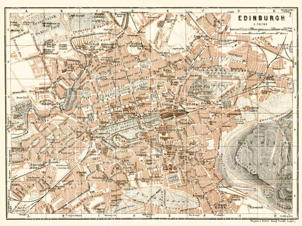 Old map of Edinburgh in 1906 Buy vintage map replica poster print