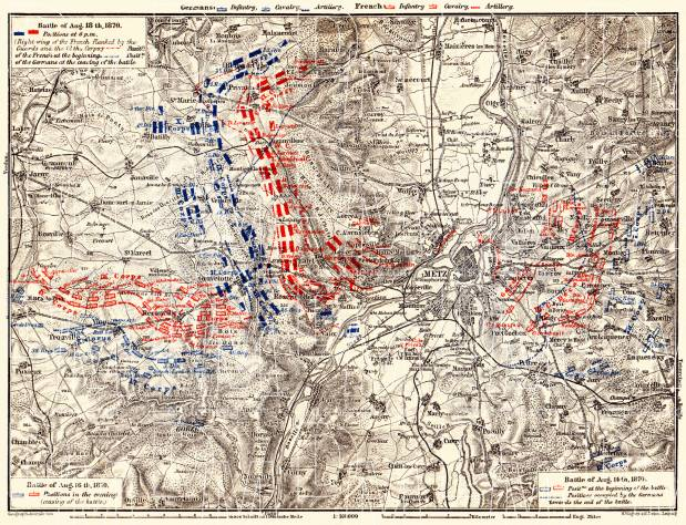 Battle at Metz in August 1870 site map, 1905. Use the zooming tool to explore in higher level of detail. Obtain as a quality print or high resolution image