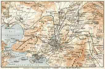 Athens (Αθήνα), map of the nearer environs, 1911