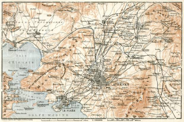 Athens (Αθήνα), map of the nearer environs, 1911. Use the zooming tool to explore in higher level of detail. Obtain as a quality print or high resolution image