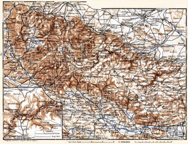 Lower and Upper Harz Mountains map, 1887. Use the zooming tool to explore in higher level of detail. Obtain as a quality print or high resolution image
