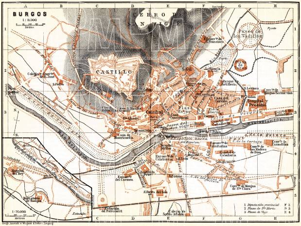 Burgos city map, 1899. Use the zooming tool to explore in higher level of detail. Obtain as a quality print or high resolution image