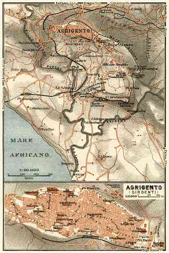 Agrigento (Girgenti) town and environs map, 1929
