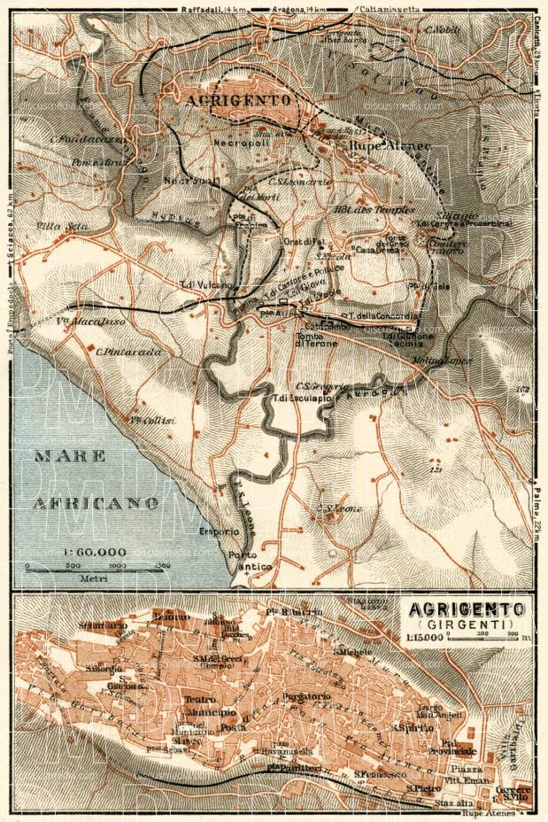 Agrigento Italy Map.Old Map Of Agrigento Girgenti And Agrigento Vicinity In 1929 Buy