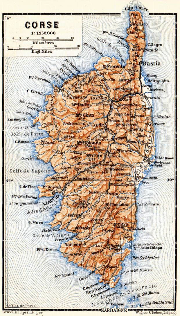 Old map of Isle of Corsica in 1885. Buy vintage map replica poster ...