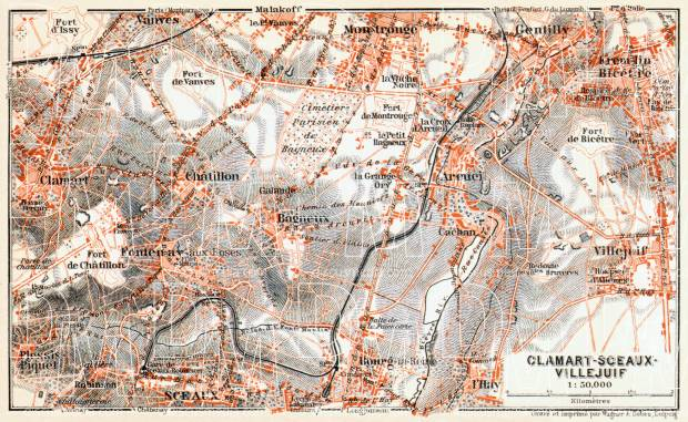Clamart-Sceaux-Villejuif map, 1910. Use the zooming tool to explore in higher level of detail. Obtain as a quality print or high resolution image