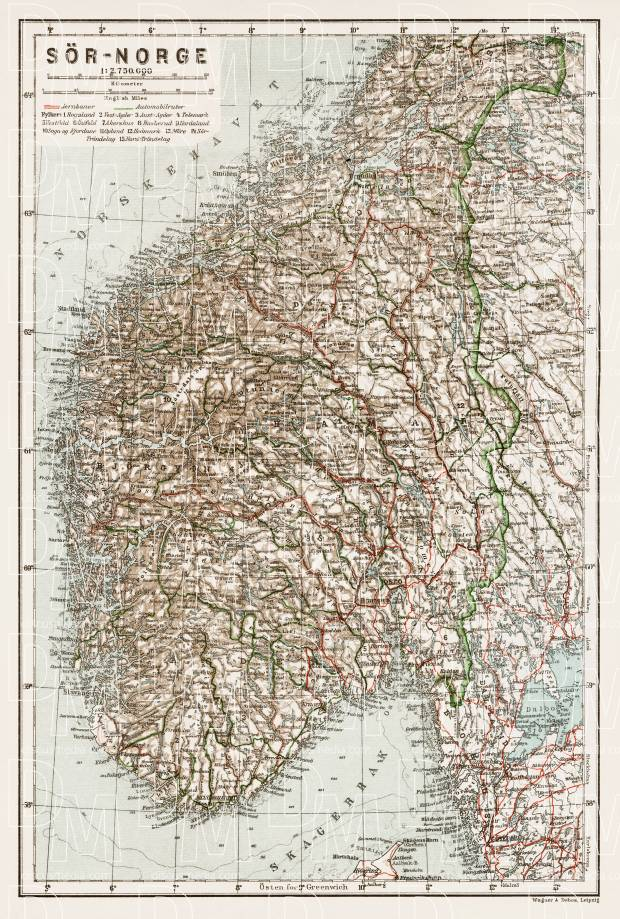 South Norway General Map, 1931. Use the zooming tool to explore in higher level of detail. Obtain as a quality print or high resolution image
