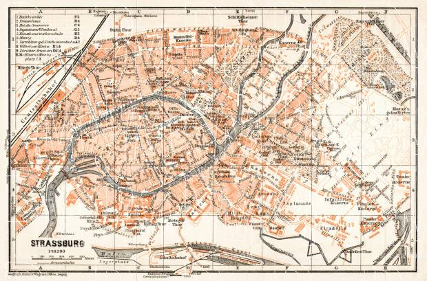 Strassburg (Strasbourg) city map, 1906. Use the zooming tool to explore in higher level of detail. Obtain as a quality print or high resolution image